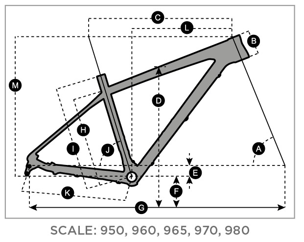 Geometry of SCOTT Scale 970 orange/black Bike