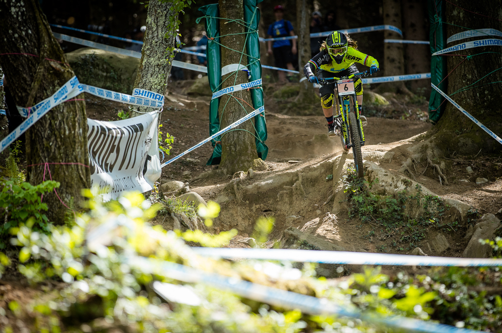 Morgane Charre flying through the rough stuff
