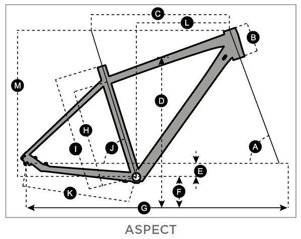 Geometry of SCOTT Aspect 730 Bike schwarz/gelb