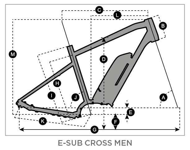 Geometry of Vélo Homme SCOTT E-Sub Cross 20