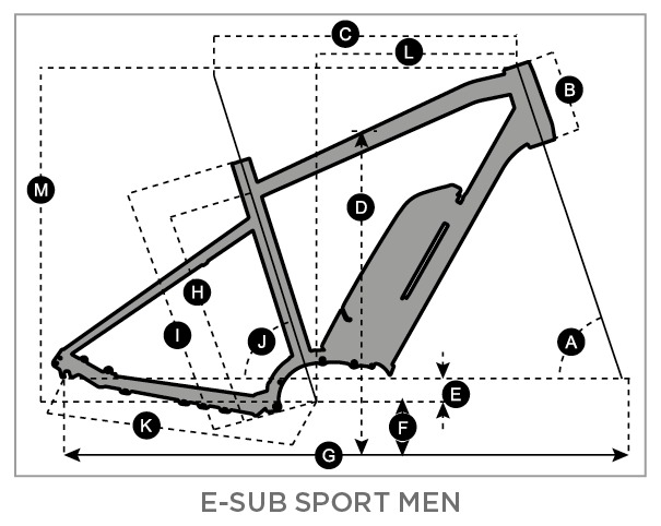 Geometry of SCOTT E-Sub Sport 20 Men's Bike