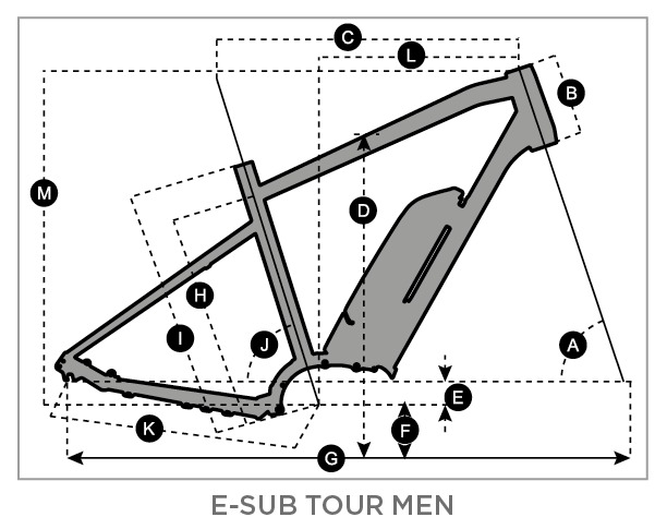 Geometry of SCOTT E-Sub Tour Men's Bike