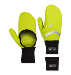 OR Hot Pursuit Convt Wrist Warmers black/lemongrass