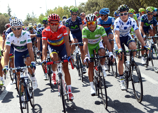 White, Red, Green and Polka dot jerseys at La Vuelta