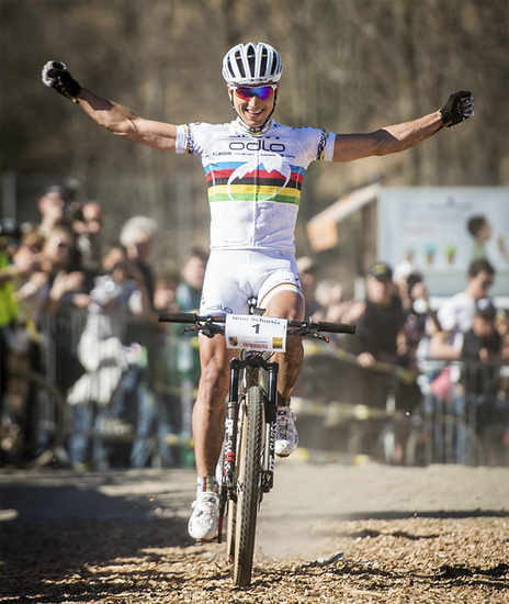2014 Race Season, here we are! World Champion Nino Schurter of SCOTT-Odlo MTB Racing crossing the finish line in 1st place- familiar territory.