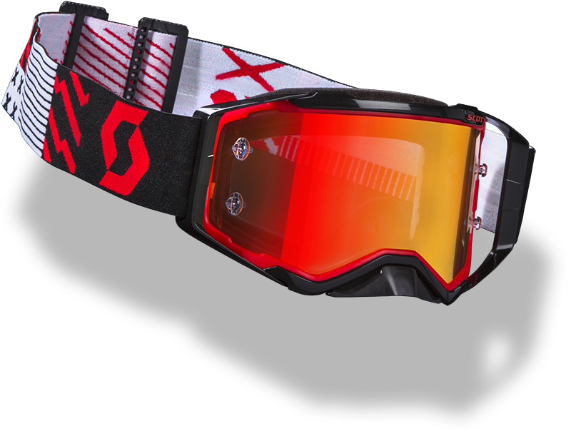 floating red and black Scott Prospect goggle with orange lens