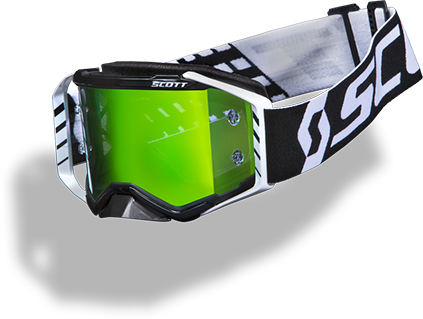 floating black and white Scott Prospect goggle with green lens