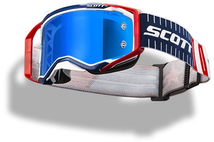floating red white and blue Scott Prospect goggle with green lens