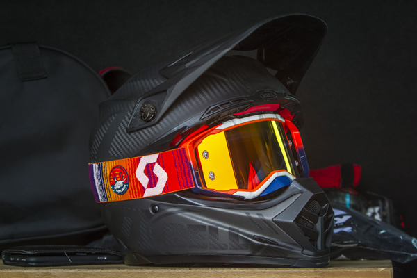 close up of the mojave prospect goggle on a black helmet sitting on a table