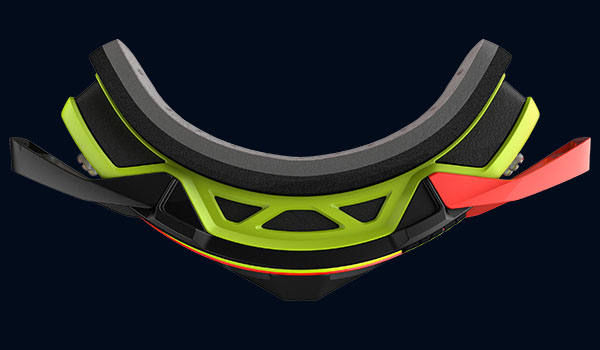 red and black scott prospect goggle view from top showing the frame thickness
