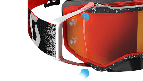 red, black and white scott prospect goggle view from the side zoomed in on the lens where it connects to the goggle frame