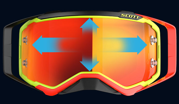 Scott prospect goggle orange and black with arrows showing how big the lens is