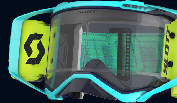 Scott prospect goggle blue and yellow, close up of the front of the goggle